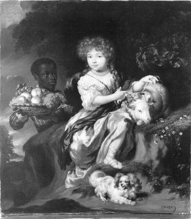 Reichgekleidetes Mädchen von einem Mohrenknaben bedient