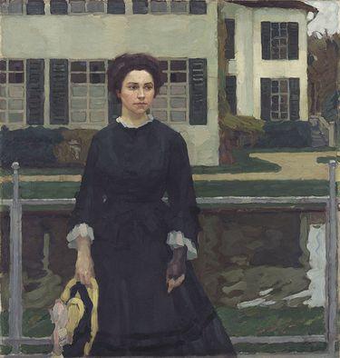 Frieda Blell vor dem Schloss Planegg (Frau Putz im Garten)