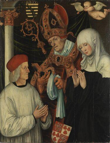 Gabriel von Eyb, Bischof von Eichstätt, mit den hll. Willibald und Walburga