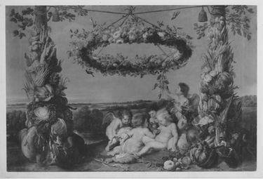 Der kleine Jesus mit dem Johannesknaben und drei Engeln, flankiert von Früchtetrophäen