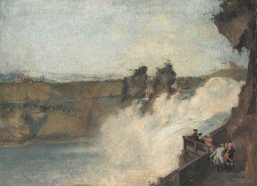 Der Rheinfall bei Schaffhausen mit Kurfürst Karl Theodor von der Pfalz und Gefolge