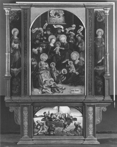 Altar der Hl. Sippe mit den hll. Agatha und Dorothea und dem Martyrium der hl. Ursula Rückseite: Mannalese