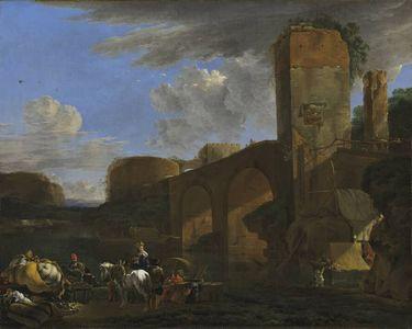 Italienische Landschaft mit Bogenbrücke