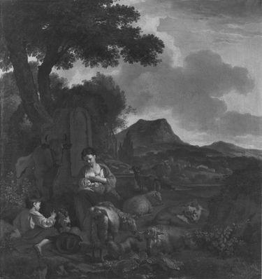 Mutter, Kind und eine Herde in der Landschaft