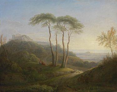 Italienische Landschaft mit Pinien