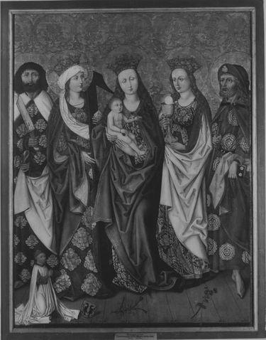 Epitaph für den Nürnberger Magister Jodokus Krell (gest. 1483): Maria mit den hll. Bartholomäus, Helena, Barbara und dem Stifter