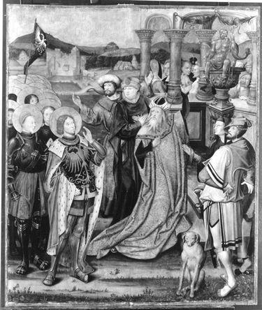 Kreuzigungsaltar: Der hl. Mauritius verweigert den Götzendienst Außenseite: Not Gottes mit hl. Abt