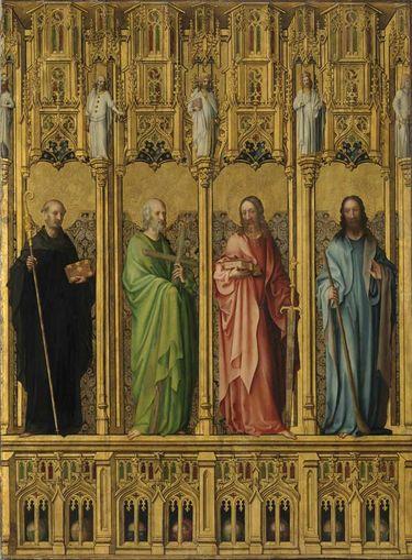 Heisterbacher Altar: Der hl. Benedikt und die Apostel Philippus, Matthäus und Jakobus d. J.