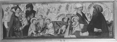 Kirchheimer Sippenaltar, Predella: Alpheus und Maria Cleophae, Zebedäus und Maria Salome mit ihren Kindern