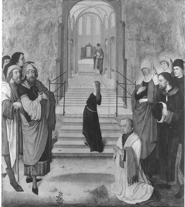 Tafeln eines Flügelaltares: Tempelgang Mariens Rückseite: Enthauptung der hl. Columba