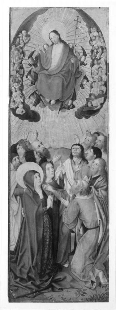 Sieben-Freuden-Altar: Himmelfahrt Christi Rückseite: Kreuztragung und Beweinung Christi (Fragment) mit hl. Abt und zwei Stifterinnen