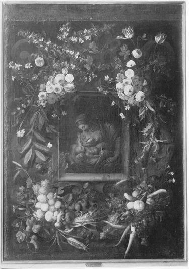 Maria mit Kind in einem Blumen- und Früchtekranz