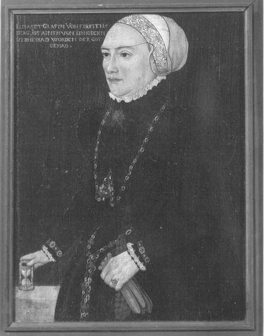 Bildnis Elisabeth Gräfin von Fürstenberg Rückseite: ausgeblichenes Wappen