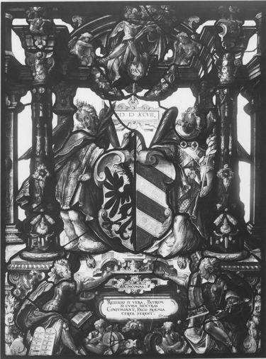 Genien halten das Nürnberger Wappen