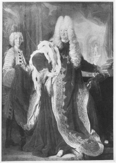 Kurfürst Karl III. Philipp von der Pfalz als Ordensgroßmeister mit Page