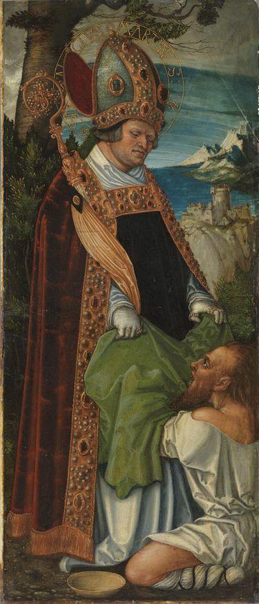 Pfirtscher Altar: Hl. Martinus (Rückseite: Rankenornament)