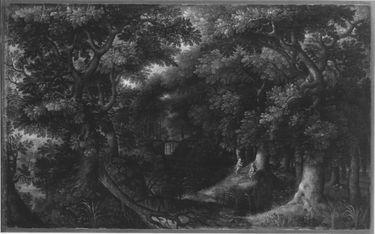 Waldlandschaft mit Hagar und dem Engel