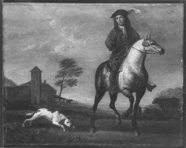 Porträt eines jungen Mannes zu Pferde