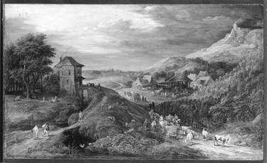 Dorf mit Weinberg