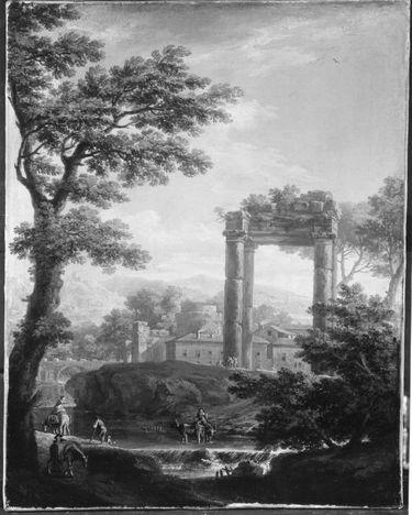 Ideallandschaft mit Tempelruine