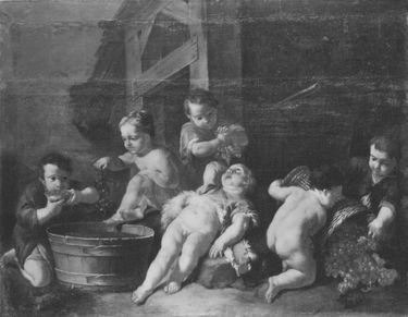 Eine allegorische Weinlese durch Kinder dargestellt