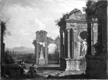 Ruinenlandschaft mit Brunnenszene
