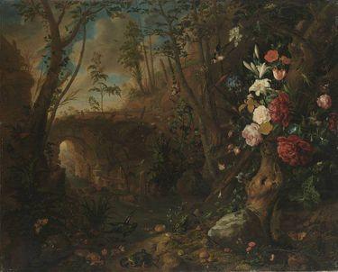 Blumen in einer Bachlandschaft