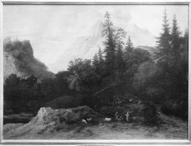 Baumlandschaft mit Hochgebirge