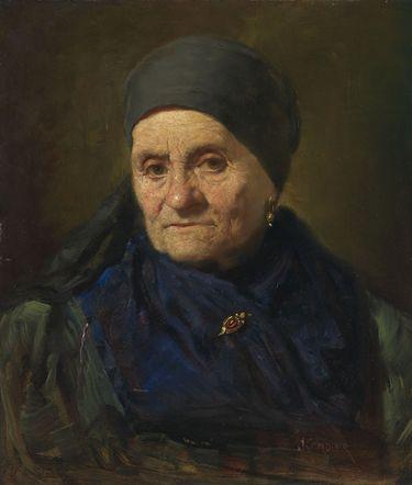Bauersfrau mit Kopftuch