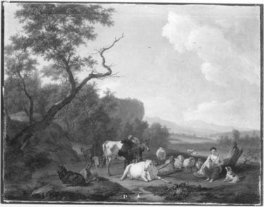 Landschaft mit rastender Herde