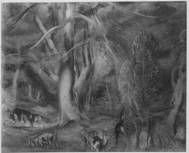 Große Pinien (Landschaft mit Ziegen)