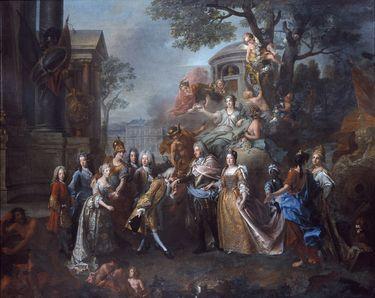 Allegorie auf die Wiedervereinigung Kurfürst Max Emanuels mit seiner Familie