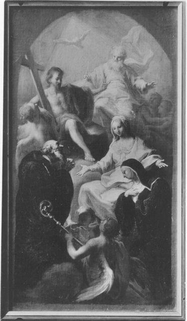 Die hll. Benedikt und Scholastika werden von der Jungfrau und der Heiligen Dreifaltigkeit empfohlen
