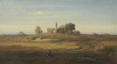 Oberbayerische Landschaft mit Kapelle
