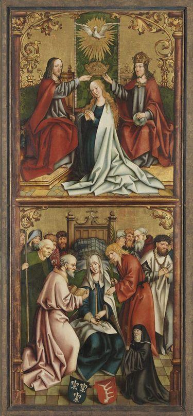 Krönung und Tod Mariens Rückseite: Christus am Ölberg (rechte Hälfte)