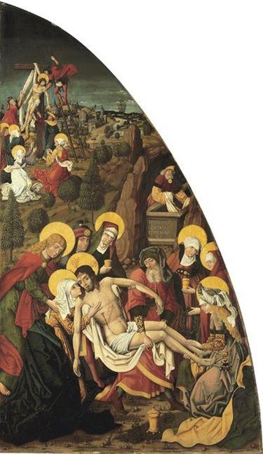 Passionstafel, rechte Tafel: Grablegung Christi