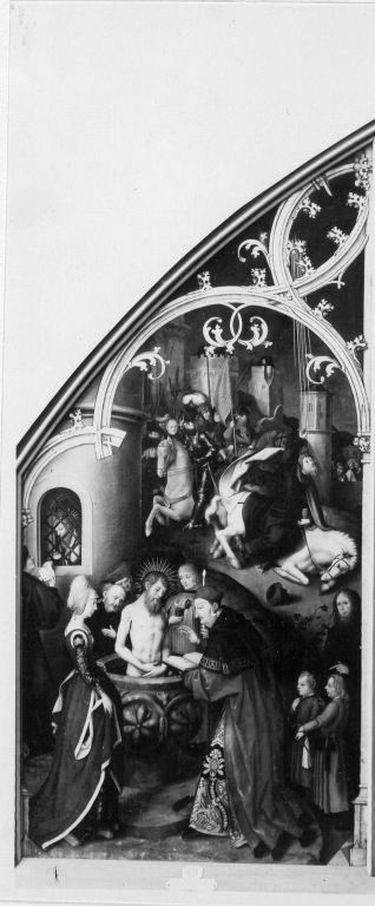 Basilika San Paolo fuori le mura, linke Tafel: Taufe des hl. Paulus