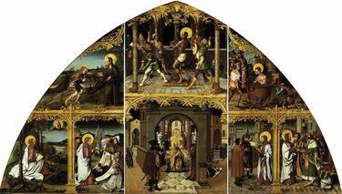 Basilika San Giovanni in Laterano, Mitteltafel: Geißelung Christi und Tod Johannes d. Ev.