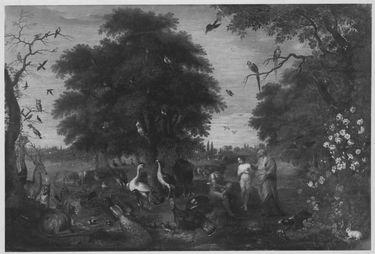 Das Paradies: Gottvater gibt Adam Eva zum Weib