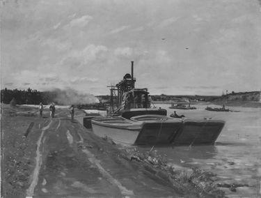 Seinelandschaft mit Baggerbooten