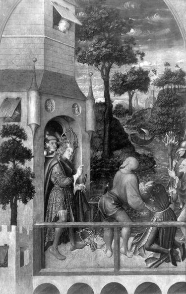 Tabula Magna: Enthauptung des hl. Quirin (Abgetrennte Rückseite: Christus am Ölberg)