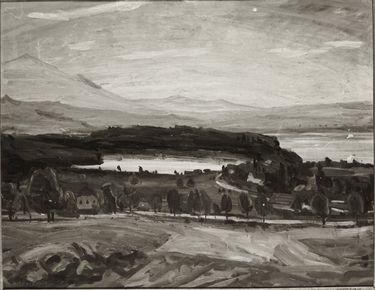 Landschaft mit See, Häusern und Berge