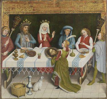 Salome bringt Herodias das Haupt Johannes des Täufers Rückseite: Predigt Johannes des Täufers und Taufe im Jordan