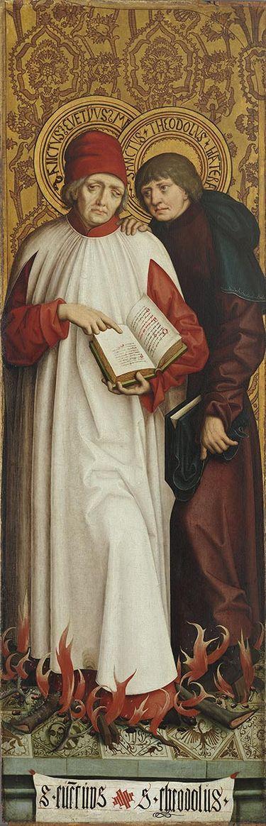 Rechter Altarflügel, Außenseite: Die hll. Eventius und Theodolus von Rom
