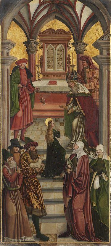 Linker Altarflügel, Innenseite: Tempelgang Mariens Rückseite: Rosenkranz