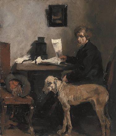 Der Maler Sattler mit Dogge