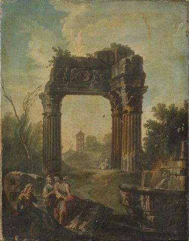 Architekturbild mit Vespasianstempel am Forum Romanum