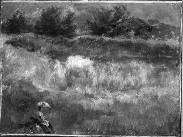 Landschaft mit Gewässer und einer Figur