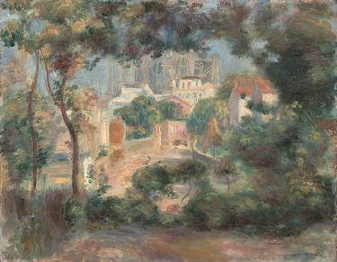 Die Gärten von Montmartre mit Blick auf Sacré-Coeur im Bau