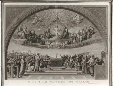 Kirchliches Motiv (Stich von Francesco Aquila nach Raffaels Disputà)